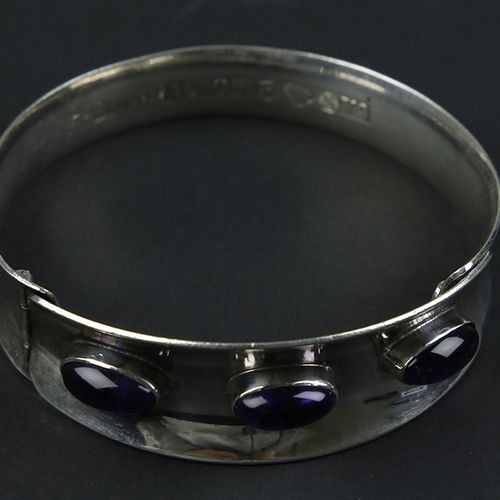 Silver jewellery silver bracelet, ALTON K.E. PALMBERG, set with oval cut amethys…