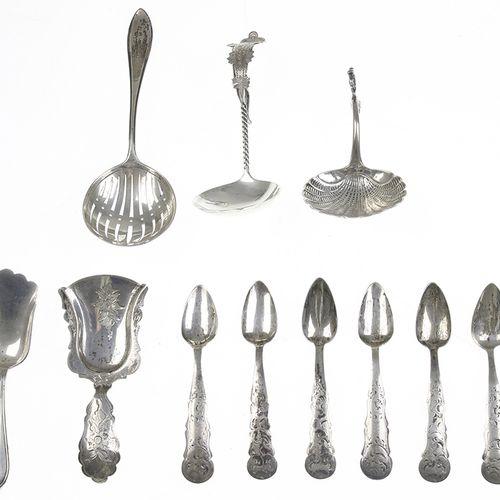 Silver objects Flatware, Netherlands Two silver cream ladles, sugar spoons, moch…