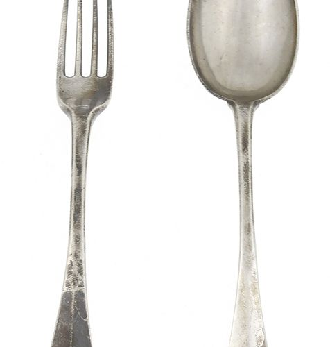 Silver objects Flatware, Netherlands Silver table spoon and fork, Amsterdam, two…