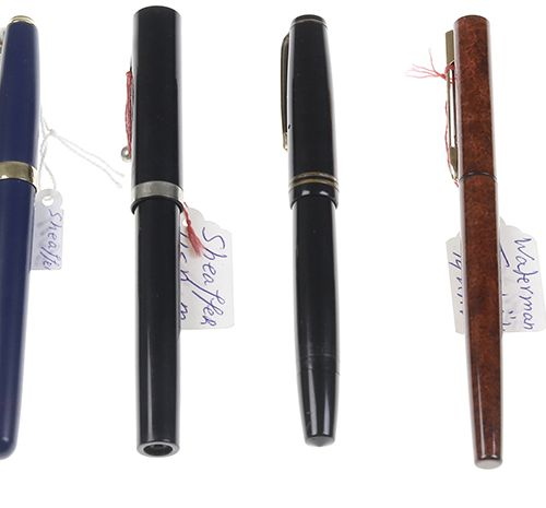 Pens Six fountain pens, Waterman, Schaeffer's and Parker most with 14kt gold nib…