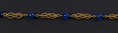 Gold jewellery and objects 14k yellow gold bracelet set with five blue glass bea…