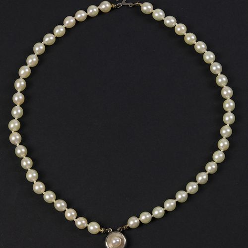 Gold jewellery and objects Two strand cultured pearl bracelet on a 14k white gol…