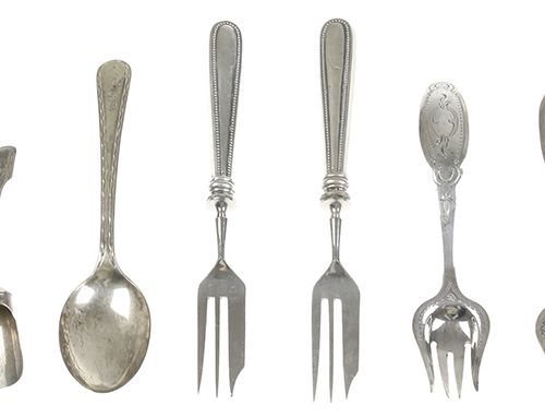 Silver objects Flatware, Netherlands A pair of pickle forks with engraved decora…