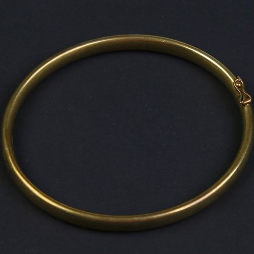 Gold jewellery and objects 14k yellow gold hinged bangle bracelet 5,8 x 6,5 cm, …