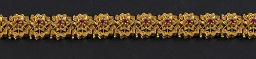Gold jewellery and objects 18k yellow gold bracelet set with round cut rubies 19…
