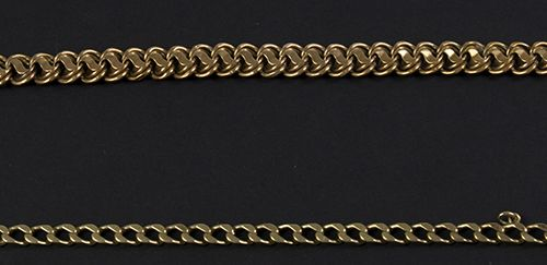 Gold jewellery and objects Two 14k yellow gold bracelets 20cm, 30 gr, worn