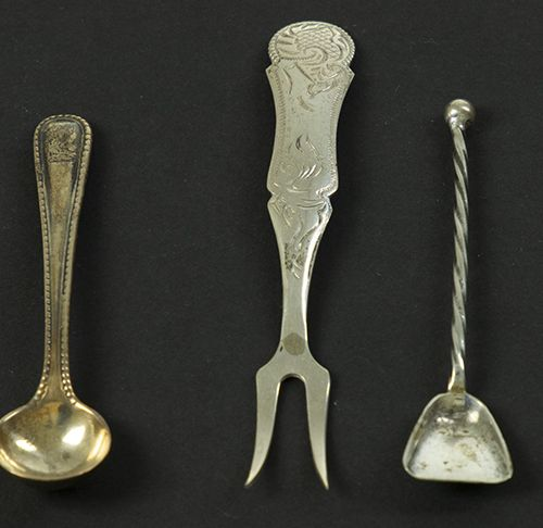 Silver objects Flatware, Netherlands A silver snail fork and four salt spoons