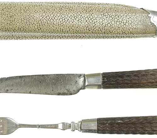 Silver objects Netherlands A Dutch silver mounted shagreen cutlery set, the knif…