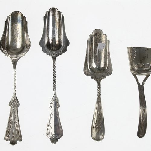 Silver objects Flatware, Netherlands Two silver sugar spoons and two tea spoons,…