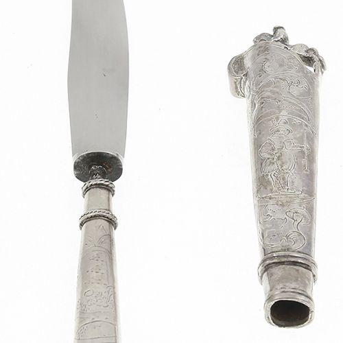 Silver objects Netherlands 2e gehalte zilveren tafelmesheft met ruiter en gegrav…