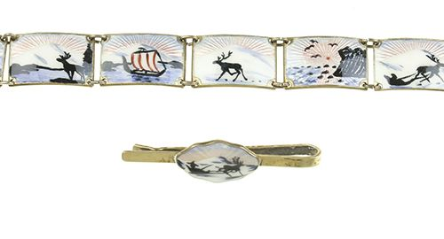 Silver jewellery Enameled gilt silver bracelet and tie clip with winter motifs, …