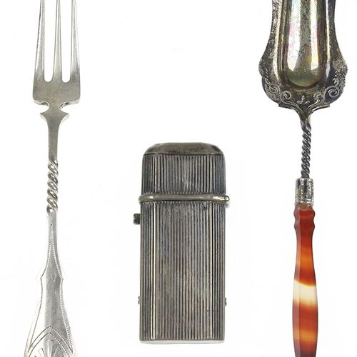 Silver objects Netherlands Ribbed silver tinder box, 19th century, sugar spoon w…