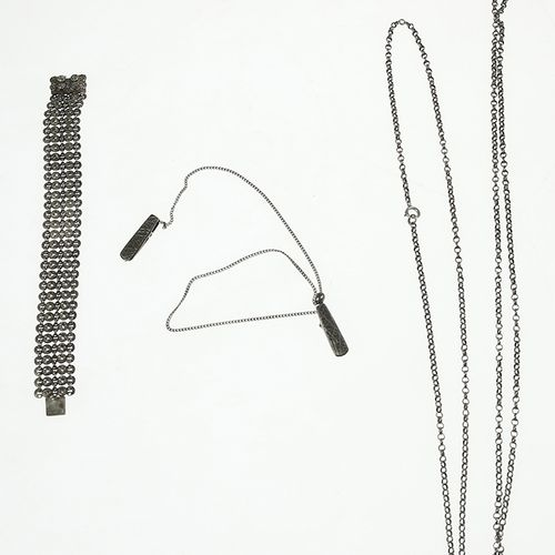 Silver jewellery Silver chain with two napkin clips, bracelet and necklace 54 gr…