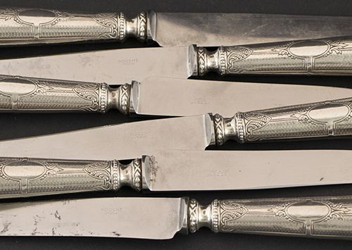 Silver objects Miscellaneous Six knives with guilloché silver handles, France, c…