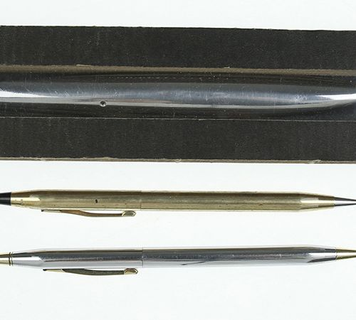 Pens A gold plated pencil and silver metal ballpoint pen, Shaeffer together with…
