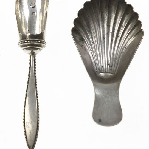 Silver objects Flatware, Netherlands Silver condiment spoon with reeded rim, 182…