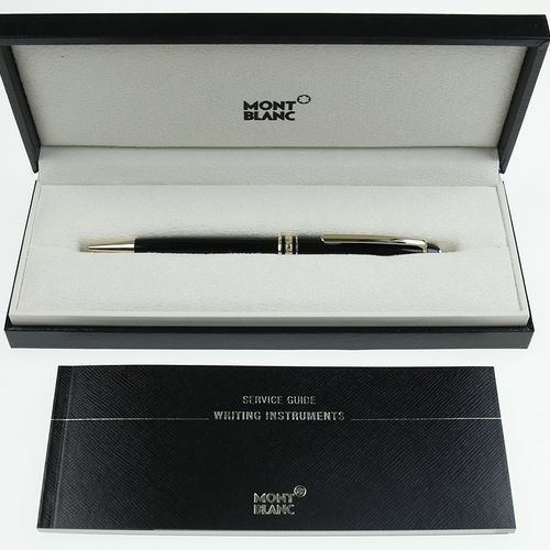 Pens Montblanc Meisterstuck, ballpoint pen with yellow gold rims, in original ca…