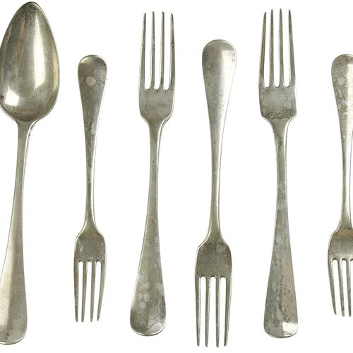 Silver objects Flatware, Netherlands Silver table spoon, two table forks and two…