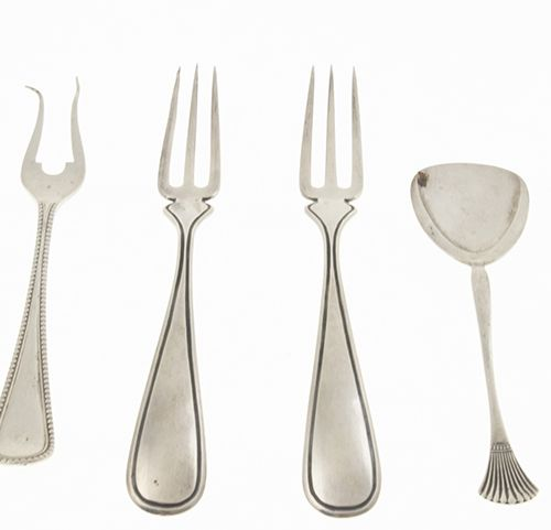 Silver objects Flatware, Netherlands Butter knife, sugar spoon, pair of serving …