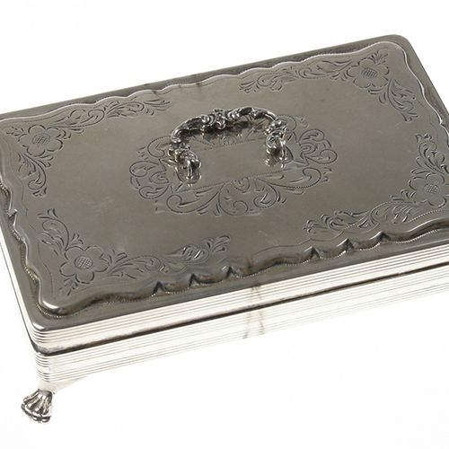 Silver objects Netherlands Silver spoon box with engraved foliate motifs and han…