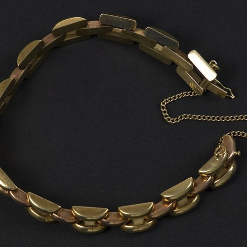 Gold jewellery and objects 14k yellow and rose gold link bracelet 19 cm, 17 gr