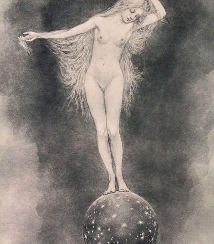 Fidus (1868 1947), weiblicher Akt / A female nude, 1894 Technique: lithography o…