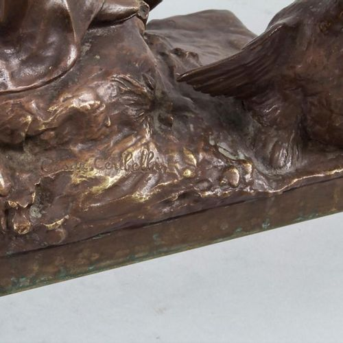 Cesar Costantino R. CERIBELLI (1841 1918), Pierrot mit Gänsen / A bronze sculptu…