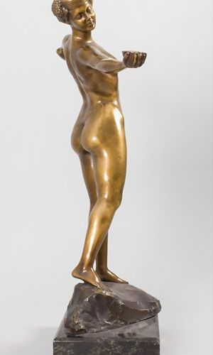 Artur Imanuel Löwental (Wien 1879 1964 Berlin), Jugendstil Bronze 'Weiblicher Ak…