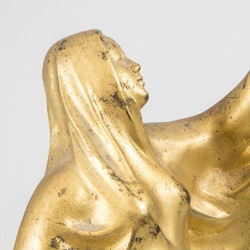Jugendstil Bronze 'Tanagra Skulptur' / Tanagra sculpture en bronze à patine doré…