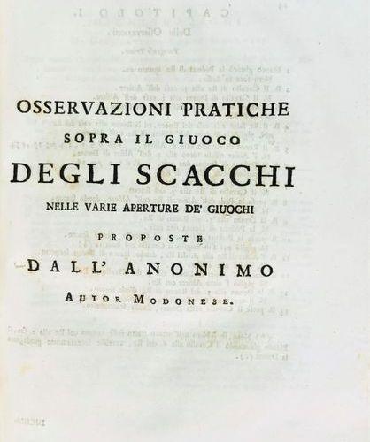 Chess. LOLLI. Osservazioni Teorico Pratiche Sopra Il Giuoco Degli Scacchi. Folio…
