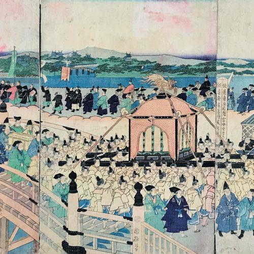KUNITERU II. Emperor Meiji enters Tokyo. Triptych. Utagawa KUNITERU II.1830 1874…