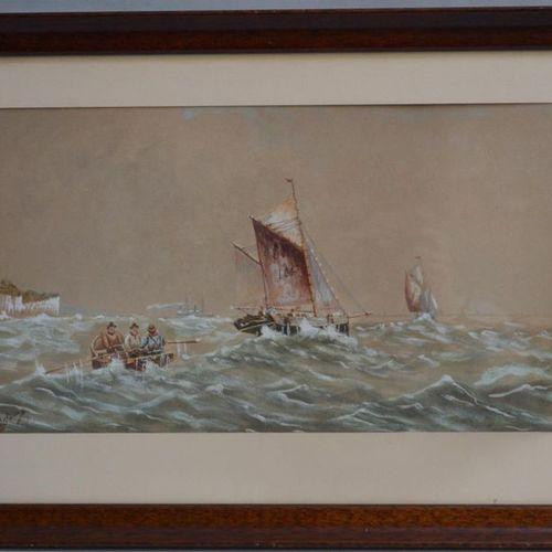 E. ADAMS (XIX XXème) Le canot dans les vagues Aquarelle signée en bas à gauche 2…
