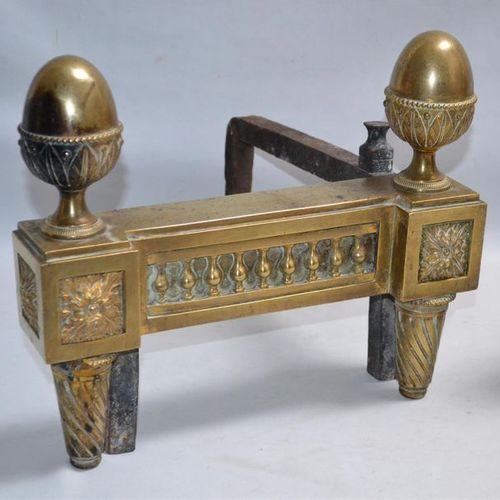 Pair of bronze CHENETS decorated with a balustrade, pine cones, connecting dice,…