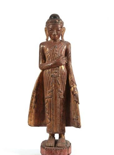 Standing Buddha, Burma  Dressed in the Utarasanga monastic robe with multicolour…