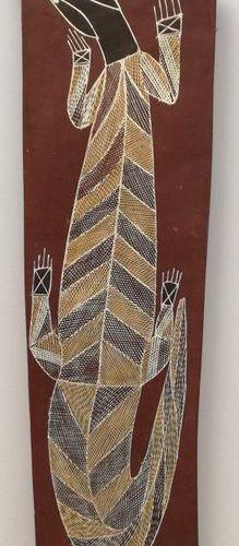 Jackie Namandali  Lizard/Goanna, 1997  The lizard, shown here on the brown groun…