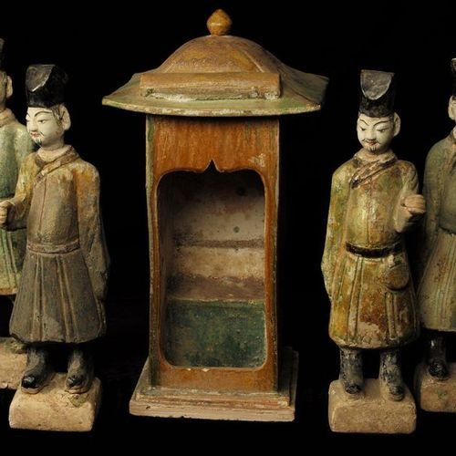 4 characters, palanquin carrier and his palanquin  Glazed terracotta  China, Min…