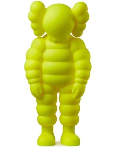 KAWS KAWS WHAT PARTY 2020  Figurine en vinyle jaune  H 28 cm  Dans sa boîte d'or…