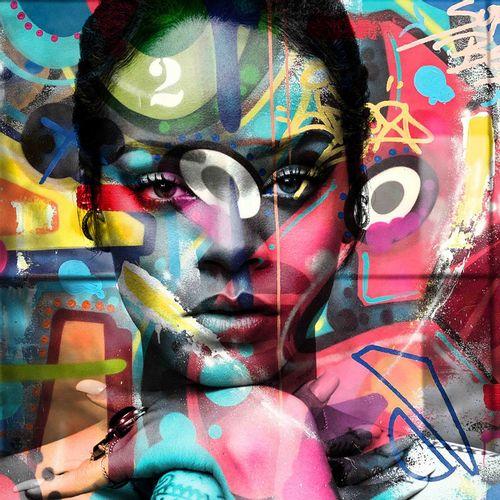 ROMANE JONCOEUR ( NÉ EN 1981) Rihanna, 2021  Impression sur verre acrylique cont…