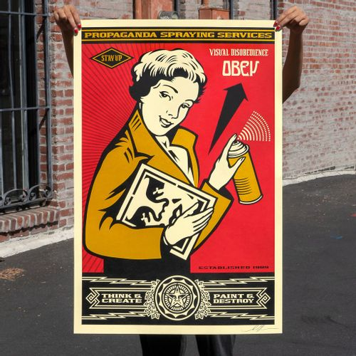 Shepard FAIREY SHEPARD FAIREY  Obey Stay Up girl, 2019  91 x 60 cm. Lithographie…