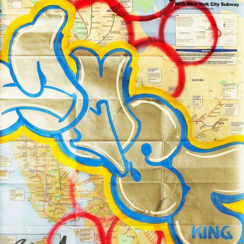 DUSTER DUSTER  KING,2013  acrylique et bombe aérosol sur plan de metro de N.Y.C …