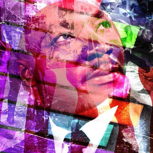 ROMANE JONCOEUR ( NÉ EN 1981) Luther King, 2020  Impression sur verre acrylique …