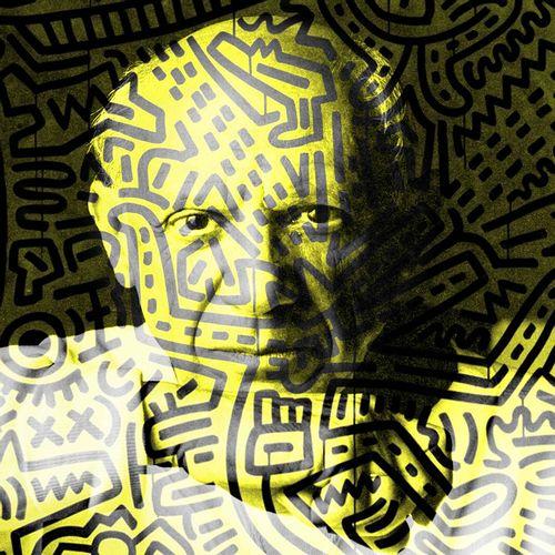 ROMANE JONCOEUR ( NÉ EN 1981) Picasso X Haring, 2021  Impression sur verre acryl…