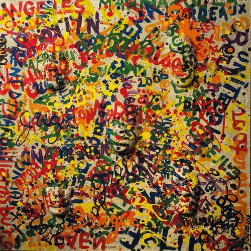 Gregos Gregos  My mess, 2016  Technique mixte sur toile : acrylique, collages pa…