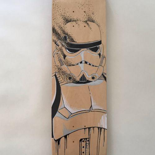 DEVERGIE Nicolas Trooper, 2021  Déssin à la main au Posca sur skateboard en bois…