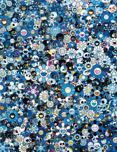 Takashi MURAKAMI Skulls & Flowers Blue  Sérigraphie limitée à 300 exemplaires  S…