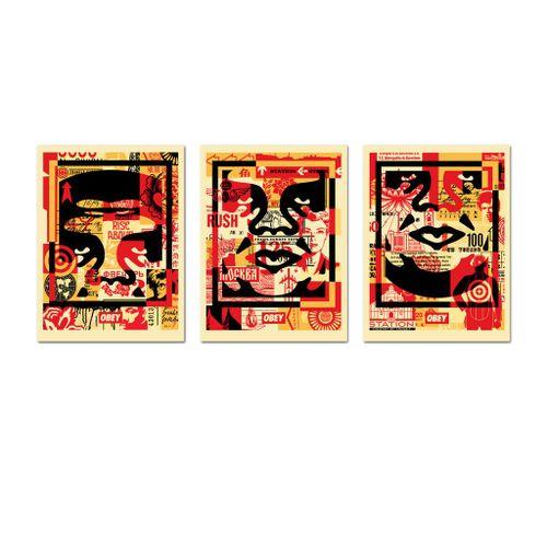 SHEPARD FAIREY (OBEY) OBEY 3 FACE COLLAGE, 2021  60 x 45 cm. Ensemble de trois l…