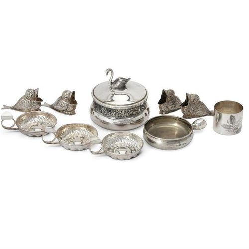 Nine Italian silver coloured items by Brandimarte Nine Italian silver coloured i…