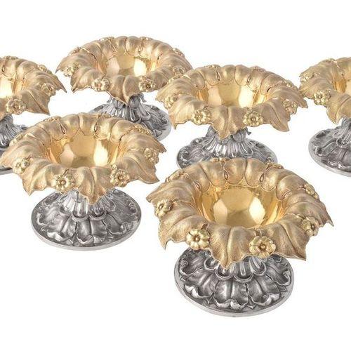 A set of six George IV silver parcel gilt salt cellars by Rebecca Emes & Edward …