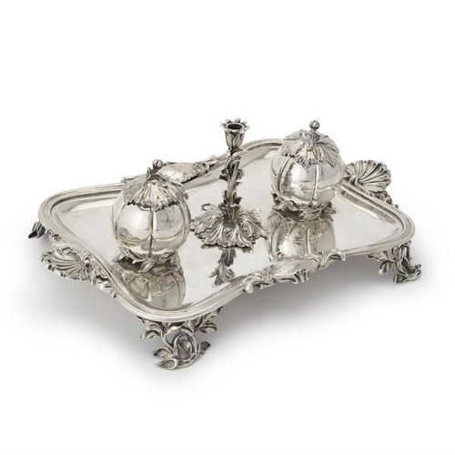 An early Victorian silver shaped oblong inkstand in Dutch taste An early Victori…