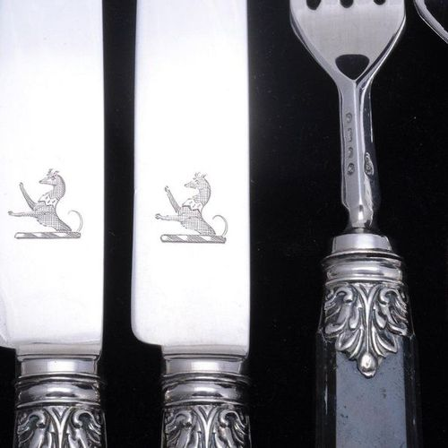 A set of twelve early Victorian silver agate handled dessert knives and forks by…